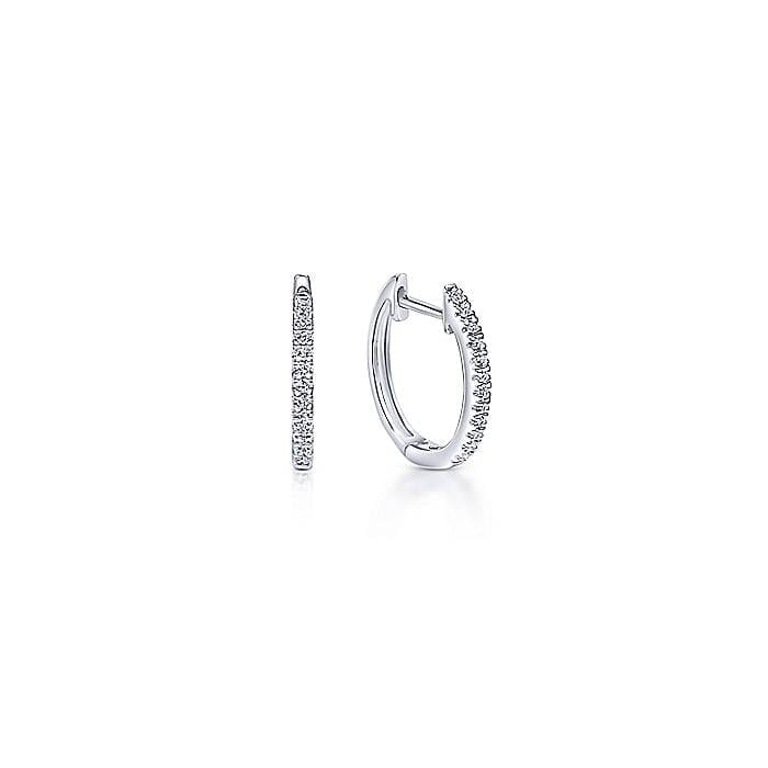 1266773355af0 Everyday Wear 10mm Secure Huggie Earrings Feature Pave Diamonds Set in 14k  White Gold