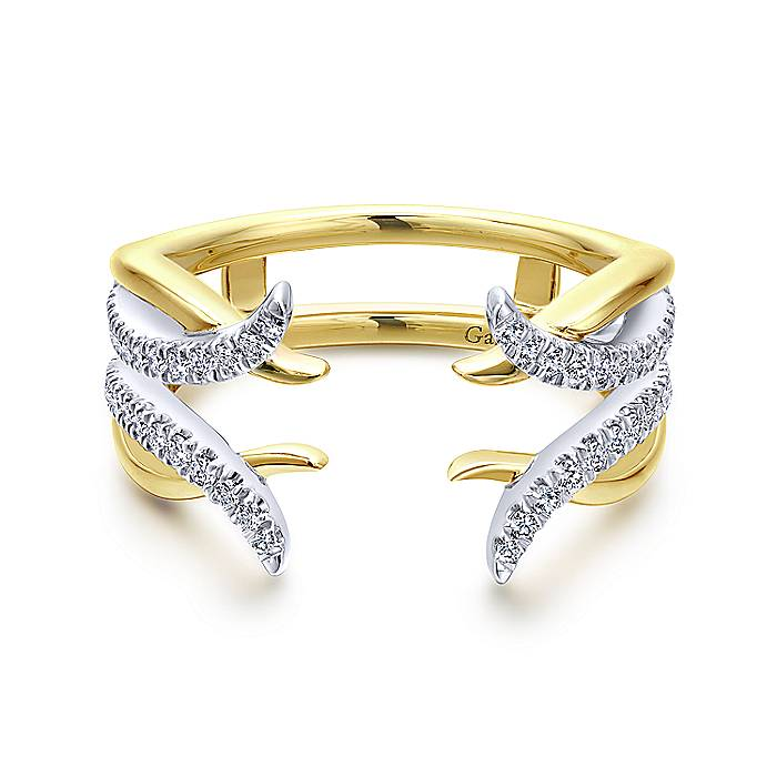 Rich 14k Yellow And White Gold With French Pave Diamonds