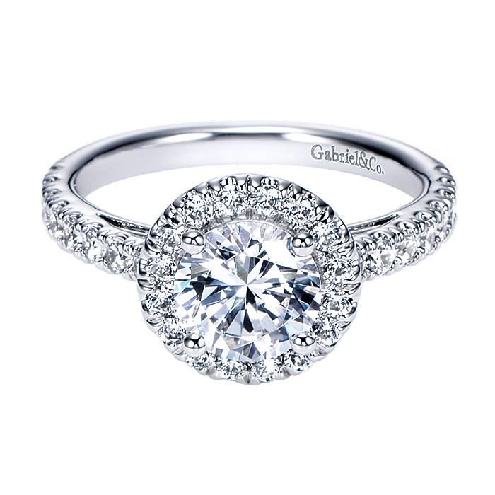Single Band Of Diamonds Surround Round Diamond Halo In 14k White Gold Bridal Engagement Ring Setting Diamond Design