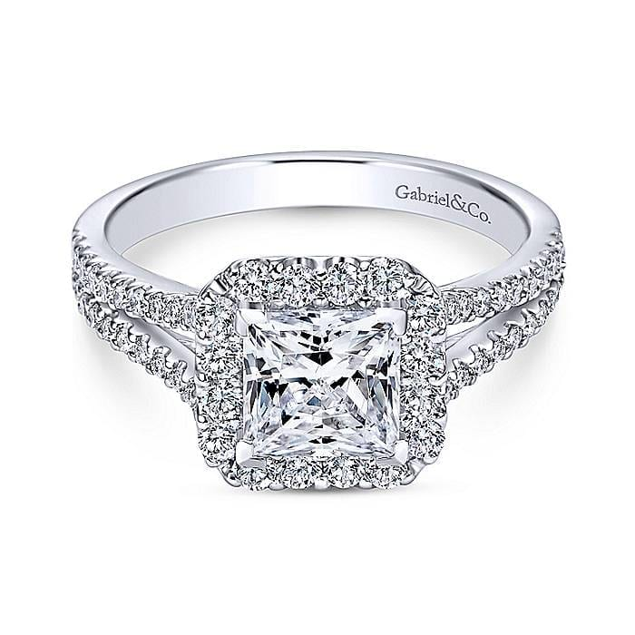 Bold Princess Cut Diamond Ring With Two Diamond Bands in ...