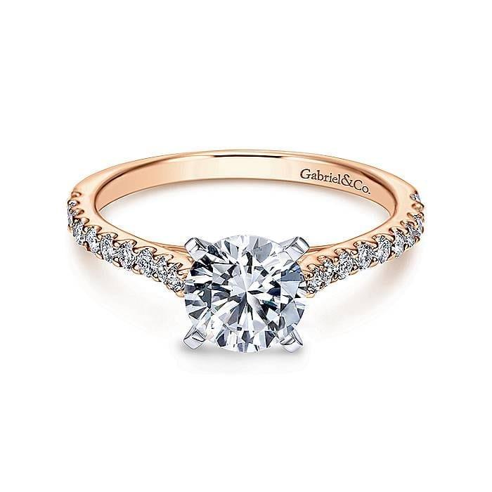 Diamond Encrusted 14k Pink Gold Frames Round Center Set In 14k White Gold Engagement Ring Setting Diamond Design