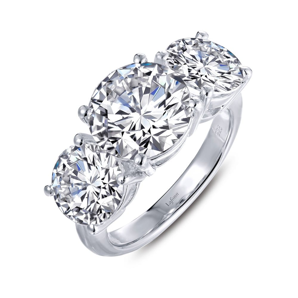 daec24862 A strong statement of your love and affection extraordinary three-stone ring  set with simulated diamonds in sterling silver bonded with platinum
