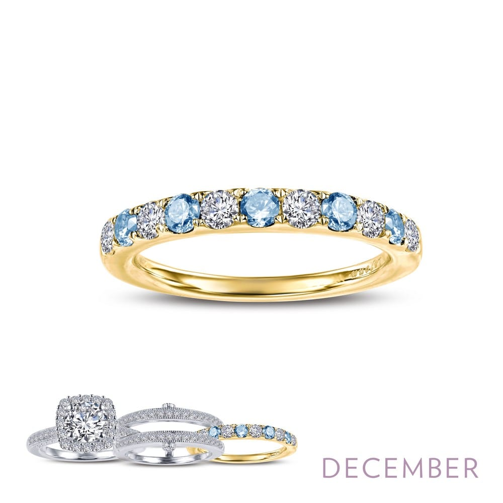 Blue Sapphire Simulated Diamond 14K Yellow Gold Plate Sterling Silver Ring Set