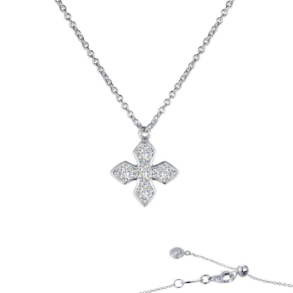 Diamond /& Simulated Alexandrite Cross Pendant Necklace Set In Set in Sterling S