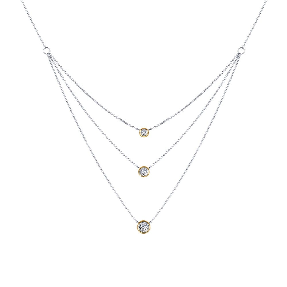Simple And Lovely Adjustable 3 Tiers Two Tone Necklace Is Bezel